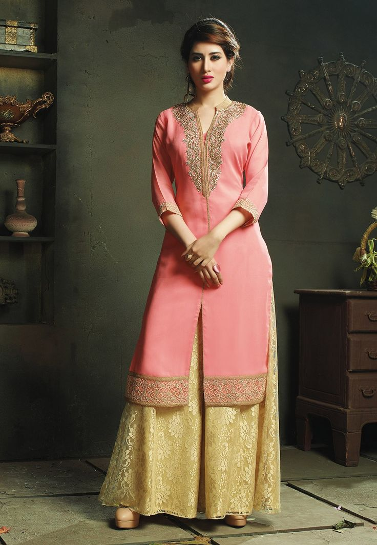 Embroidered Pakistani Suit in Peach