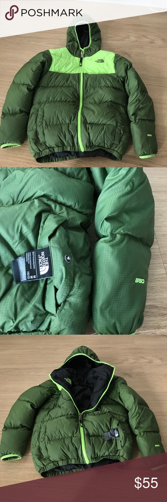 THE NORTH FACE boys winter ❄️ jacket 550 M 10-12 BOYS THE North Face size M 10-12 filers 550 reversible boys jacket black color and bright green -green color very gentle wear condition The North Face Jackets & Coats Puffers