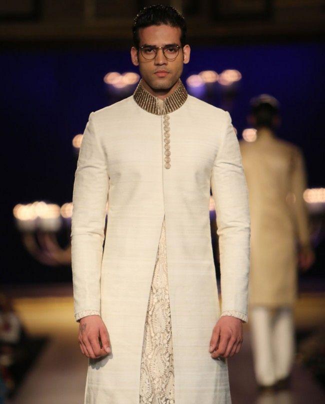 Ivory Sherwani Set with Textured Kurta - Shop Men's