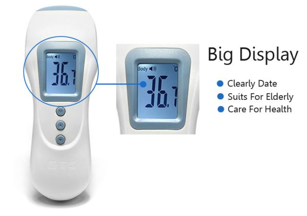 USB Rechargeable Digital Thermometer Infrared Forehead Body Object Temperature English Version White & Blue - Tmart