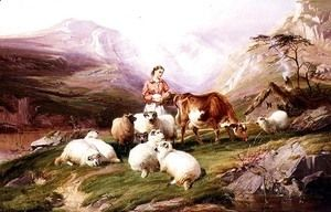 Cow and Sheep on a Mountain Pasture  Thomas Sidney Cooper