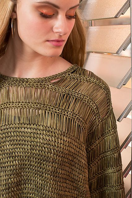 Argosy Top by Lily Chin - Loose and lacy, this Tunisian top makes the most of a beautiful hand-dyed Tencel tape yarn. Interweave Crochet Magazine $7.99 sgl issue