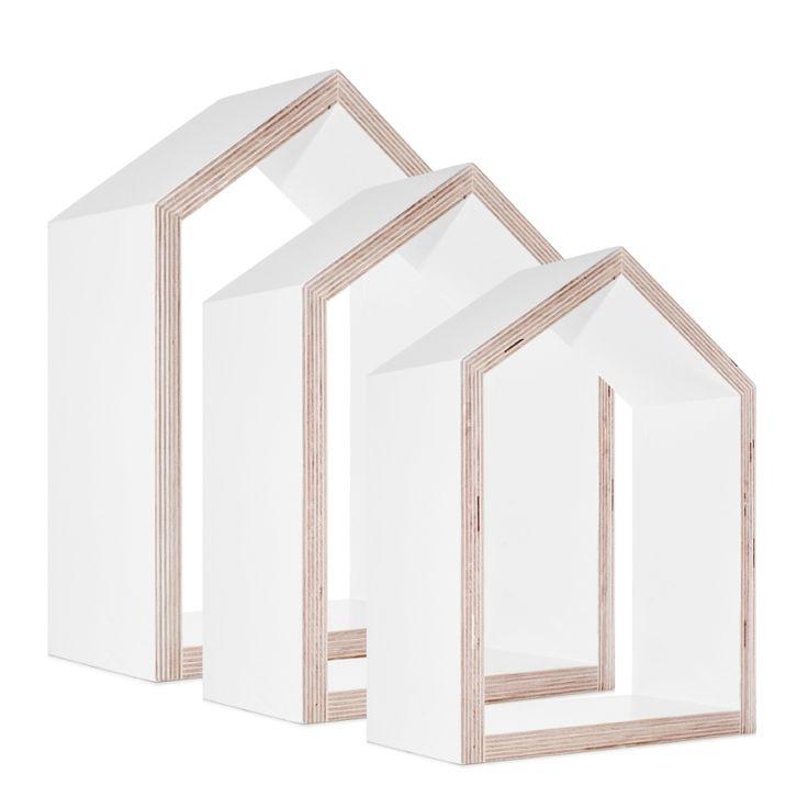 Półki Domki komplet 3 sztuki białe