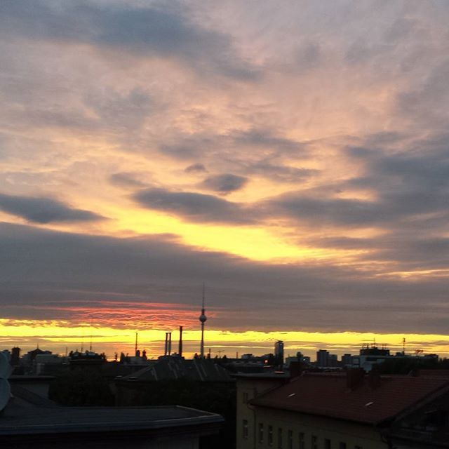 #Berlin #Sunset #tvtower #ontheroof #amazing #sky #cloud #tramonto #cielo