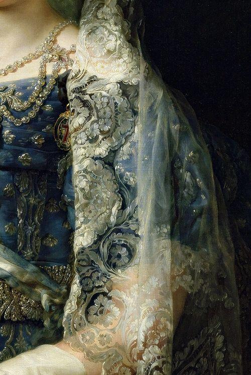 Lace detail blue gown     Mar�a Cristina de Borb�n-Dos Sicilias, Reina de Espa�a,...
