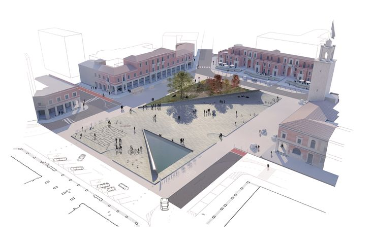 Project for the central square of Latina, Italy