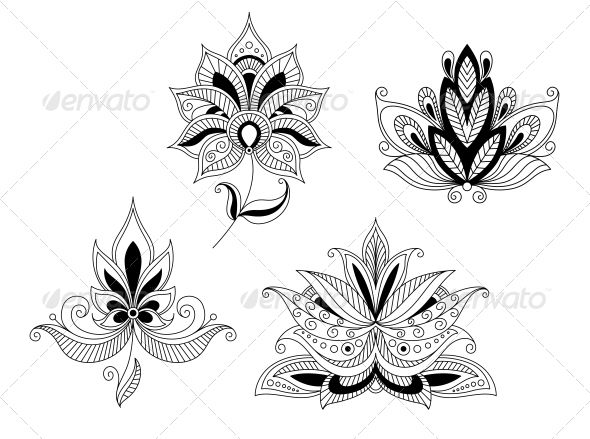 Set of Indian and Persian Flower Blossoms #GraphicRiver Set of indian and persian flower blossoms isolated on white background. Editable EPS8 and JPEG (can edit in any vector and graphic editor) files are included SPORTS MASCOTS MEDICINE FOOD LABELS WEDDING DESIGN ELEMENTS FLORAL OBJECTS WEB ICONS ANIMALS Created: 24July13 GraphicsFilesIncluded: JPGImage #VectorEPS Layered: No MinimumAdobeCSVersion: CS Tags: abstract #arabiam #arabic #art #background #bloom #blossom #botany #collection…