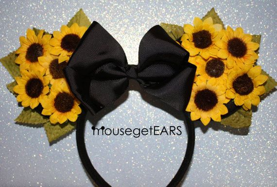 Hey, I found this really awesome Etsy listing at https://www.etsy.com/listing/253881006/sunflower-yellow-mickey-ears-black-bow