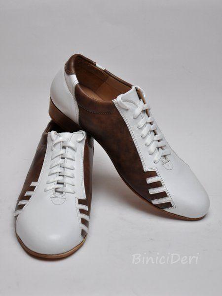 Men's sporty tango shoe - White & Brown