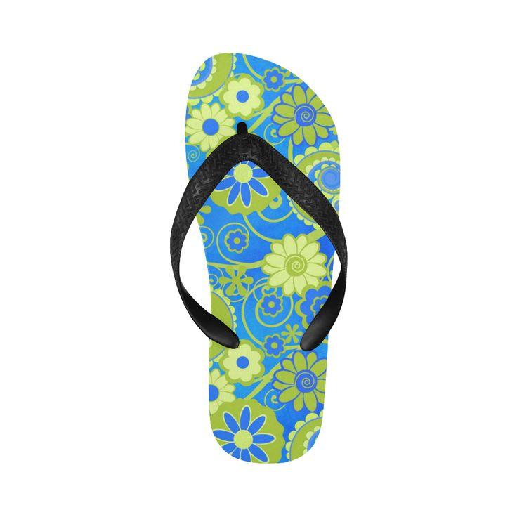 Print Flip Flops Blue Lime Fun Flowers Print Flip Flops for Men/Women