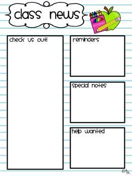 Class Newsletter Template! Great for sending home to parents so they know exactly what is going on.
