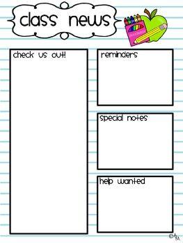Notebook Class Newsletter Parents Pinterest Class Newsletter
