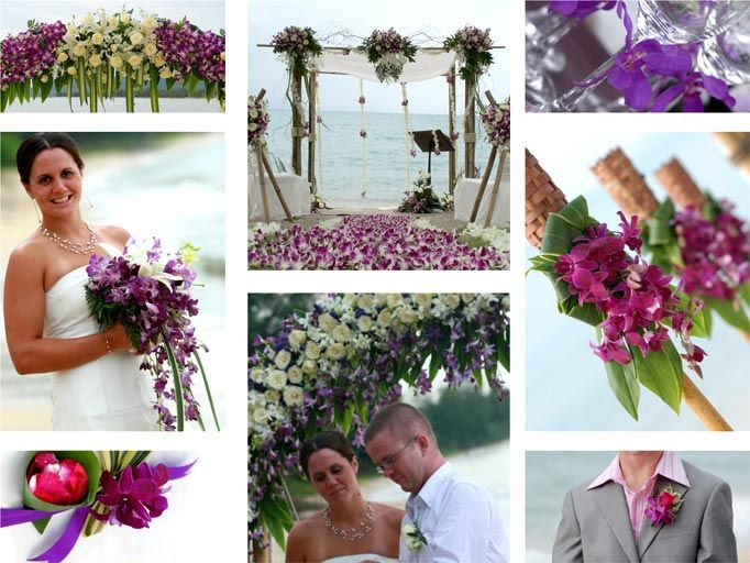 A mixture of Singapore, Thai 'Bom' and Mokara orchids are used to create this purple themed beach wedding