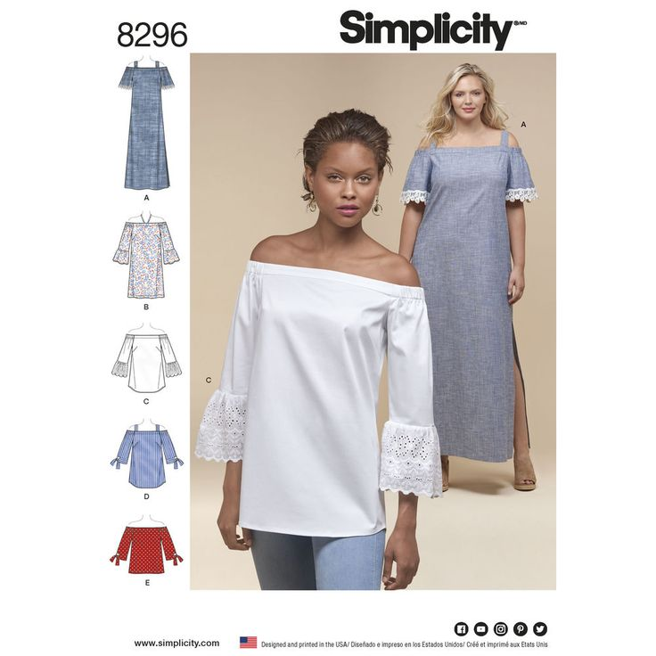Achieve the off-the-shoulder look in a classic way with this figure-flattering maxi dress sized for both Miss and Plus figure types. Pattern has cut lines for Petites and includes long dress, top and tunic with sleeve variations. Simplicity sewing pattern, Fit For Petite.