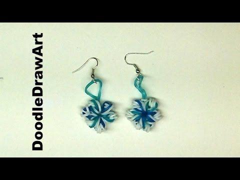 Craft:  Elastic Snowflake Earrings - rainbow loom earrings using crochet...