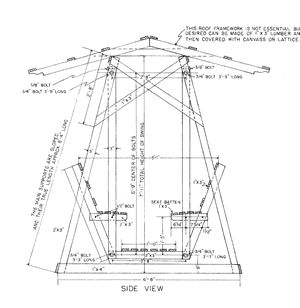 These free lawn swing plans are nice and detailed. The hardware needed is very limited as the hinging of the swing is handled with off the shelf hardware and lumber rather than an expensive swing hinge.
