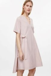 COS image 7 of V-neck dress with tie belts in Pale Pink