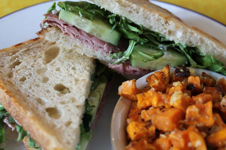 DAILY 2.6.18: Horseradish Roast Beef - Provolone, Arugula, Cucumber, Horseradish Mayo on Toasted Sourdough