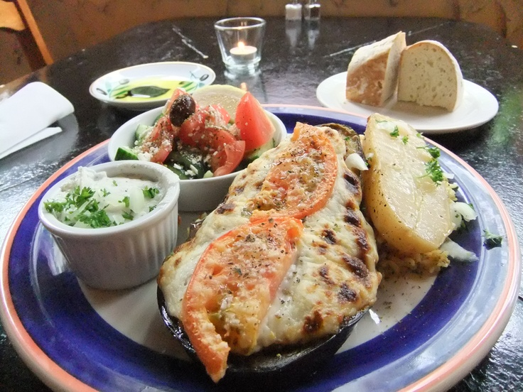 Saturday May 4th & Sunday May 5th Chef's Creations:  Papoutzakia - half an eggplant roasted, topped with ground sirloin, onions & herbs & finished with béchamel sauce. Served with rice and/or potato, Greek salad, fresh bread with olive oil & balsamic vinegar for dipping. $14.50