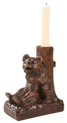 Candleholder MOUNTAIN Rustic Sitting Bear Tree Trunk Resin New Hand-Cast OK-1112