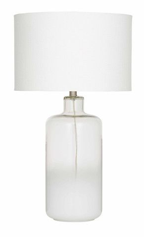 Clear Glass Table Lamp - white shade
