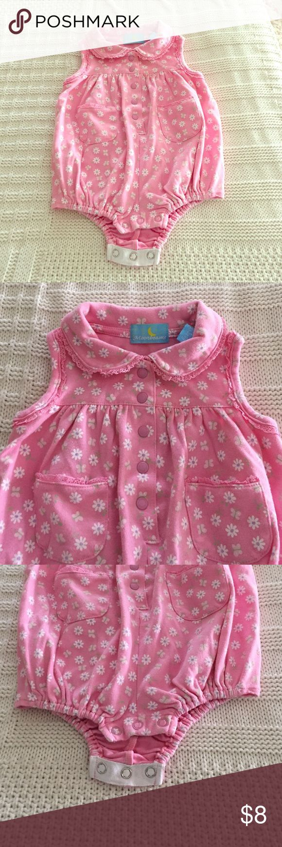 Pink Bubble Style Playsuit Pink bubble style playsuit in thick cotton featuring a floral and butterfly pattern, a button front placket, button bottom and a sweet little collar on this sleeveless suit. Front pockets, ruffle detail. Excellent condition. So cute for your baby girl! Moonbeams One Pieces Bodysuits