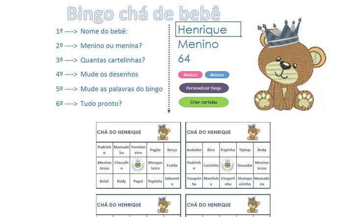 Bingo chá de bebê, planilha Excel gratuita para a criação de bingo de chá de bebê de menino e menina personalizada e profissional.