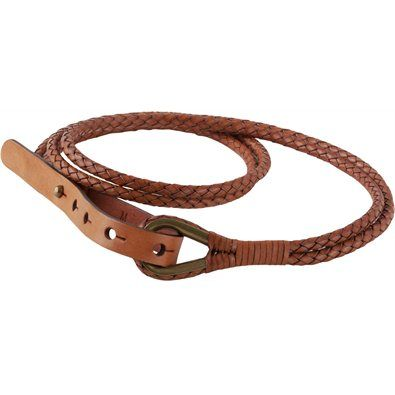 "Leather Braided Belt - Unlike any belt we've ever run across, constructed of two artfully woven tubular ""ropes"" of 100% cowhide leather. Fastens with a metal loop."