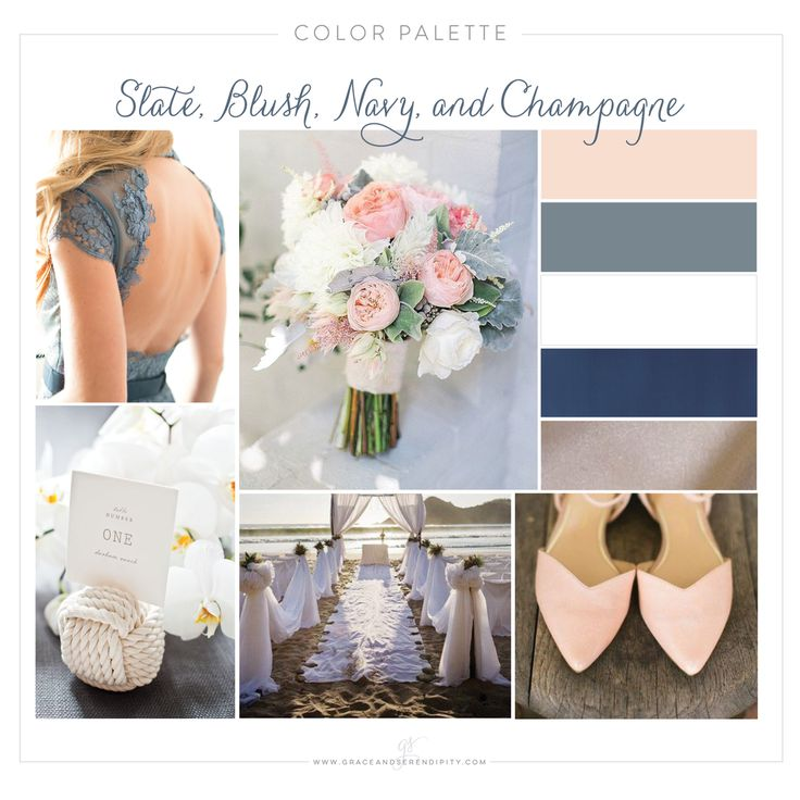 What a beautiful color palette to start off the year with for Bespoke  Wedding Design! There is something so elegant and beautiful about blush  and navy together, and then when you add in the slate and champagne,  goodness it's pretty.