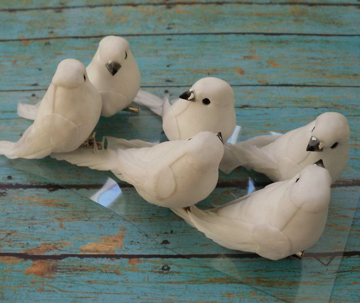 Artificial Birds - SIX Decorative WHITE Birds On CLIPS - Craft Embellishment - Home Decor, Christmas Decorations by BlissfulSilks on Etsy https://www.etsy.com/listing/114400359/artificial-birds-six-decorative-white