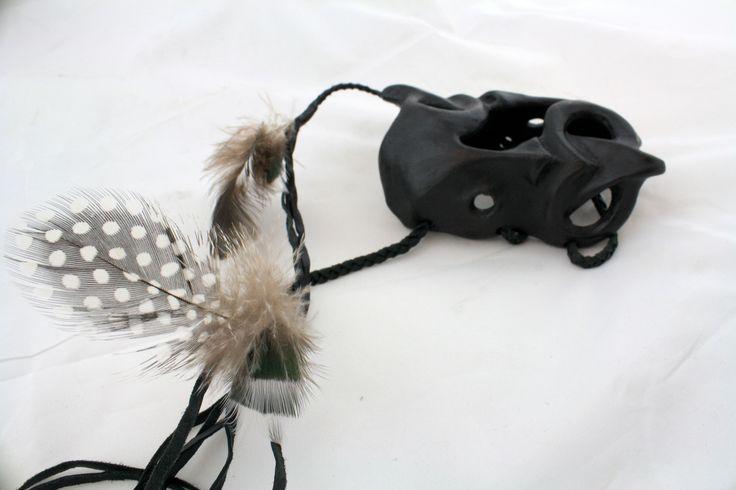 Mahanga Wheku Cuffs.  Patinated Silicon Bronze, Emu, Pheasant and Kereru Feather, Black Leather Bind, Mahi Raranga Ani @ Twine.  Jen Waterson, 2014