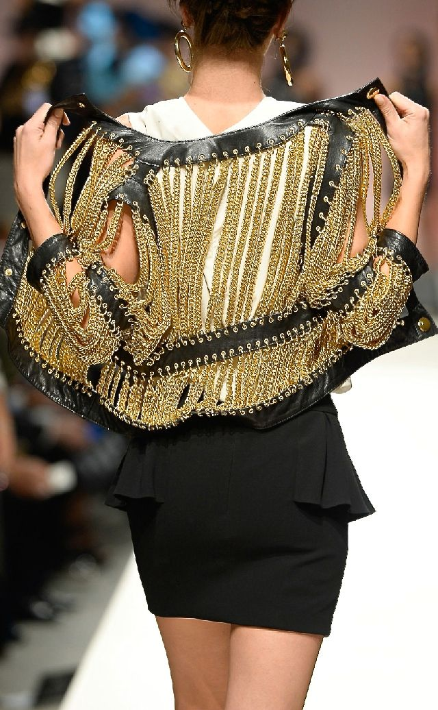 LUXURY BRANDS | Moschino Coat with golden chains - to die for. | www.bocadolobo.com #expensive #howtospendit
