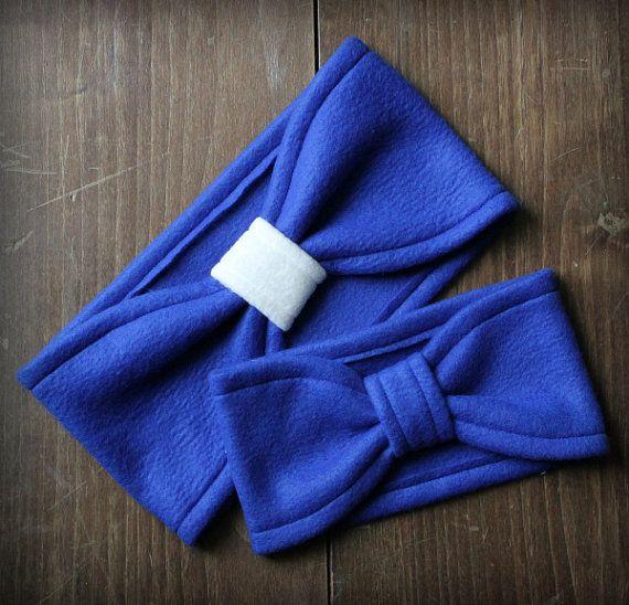 Mommy and Me Combo Fleece Turban Headbands Royal Blue