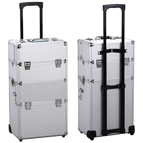 Yaheetech 3 in 1 Beauty Cosmetic Makeup Case on Wheels Silver Gift -- More info could be found at the image url. #MakeupOrganizer