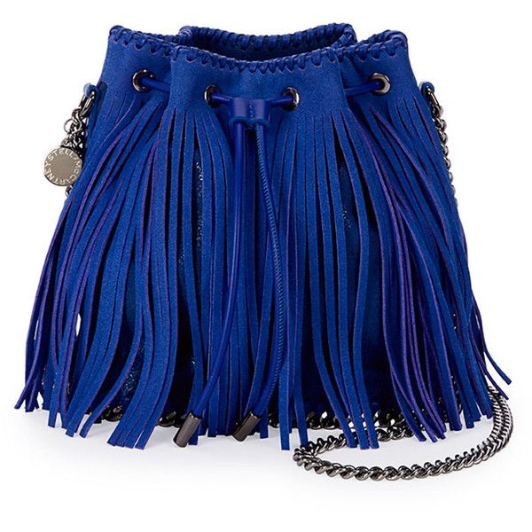Stella McCartney Falabella Small Fringe Bucket Bag ($1,560) ❤ liked on Polyvore featuring bags, handbags, shoulder bags, blue, blue shoulder bag, bucket handbags, bucket purse, fringe handbags and bucket bag