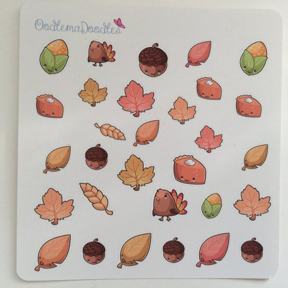 Kawaii Autumn Decorative Stickers: A small design perfect for functional use without taking up lots of space in your planners.  You will receive one sheet with :  30 x Stickers   These planner stickers have been printed using a professional photo printer, with pigment ink.  We offer four different papers at OodlemaDoodles. Please read below to make an informed decision about your purchase. If in doubt, feel free to contact us and we can help advise :)  Repositionable: This sticker paper is…