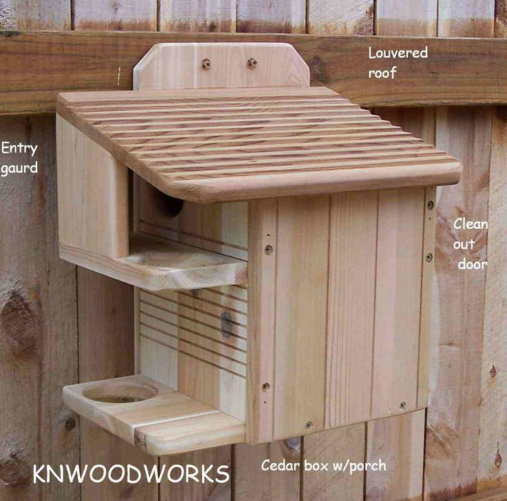Squirrel Home Plans | DELUXE SQUIRREL NEST BOX HOUSE WITH PORCH AND PREDATOR GAURD