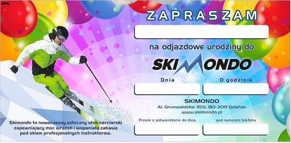 Urodziny w SkiMondo!!!  Zrealizuj wspaniałe przyjęcie urodzinowe dla swojego dziecka w niezapomnianym otoczeniu sportów zimowych.  Snowboard, narty, stok narciarski w urodziny - tylko w SkiMondo!  Czas trwania przyjęcia urodzinowego to pełne 2 godziny zabawy dla Twojego dziecka i jedenastu jego kolegów i koleżanek.  W programie zabawa na stoku, nauka jazdy na nartach, narciarskie konkursy, gry i zabawy ruchowe, tort urodzinowy i woda z cytryną do woli. Zapraszamy serdecznie. www.skimondo.pl