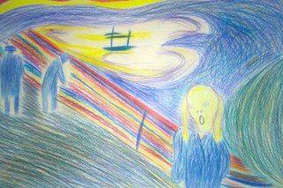 """13-летняя сестра спросила, что нарисовать для меня в качестве подарка на День рождения. Я ради смеха скинул ей картину Эдварда Мунка """"Крик"""". Ну ребёнок не растерялся, и, по словам бабушки, нарисовал меньше чем за полчаса :)"""