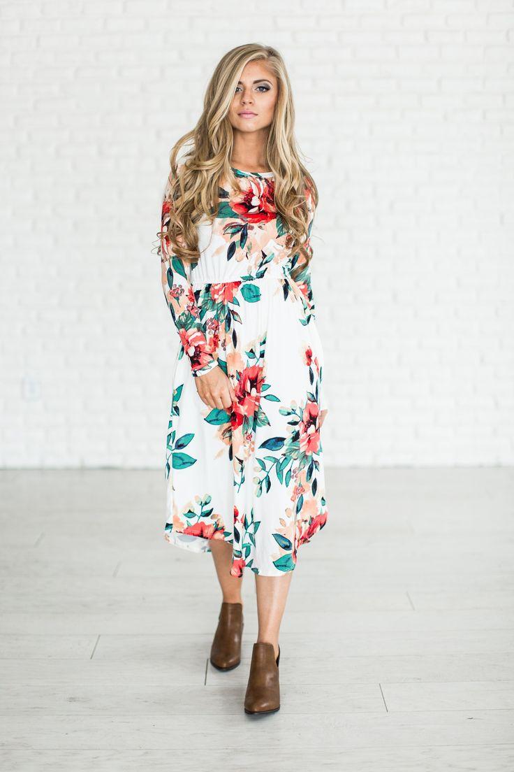 Spring Floral Dress - Ivory