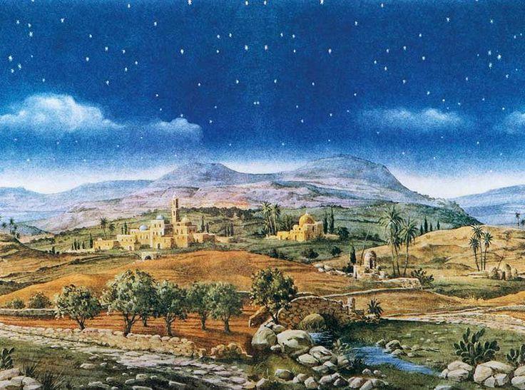 Escenografías para el Belén: Fondo paisaje hebreo