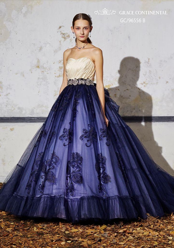 上下の色が異なるバイカラーのドレス、切り替えにはビジューをON☆ビジューを取り入れたカラードレスまとめ一覧♡