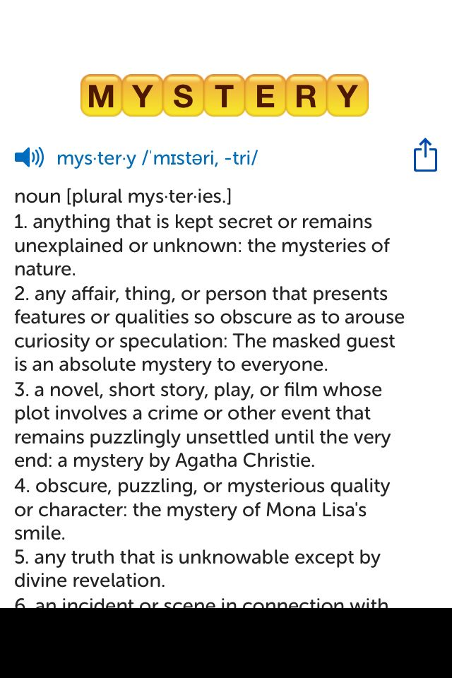 The best word I've seen today on Words with Friends is 'mystery'. Can you come up with a better one?