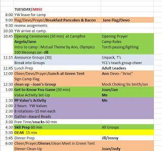 YW Sample Girls Camp Schedules