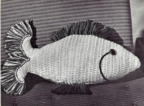 Free Crochet Fish Pillow Pattern : Fish Pillow crochet Pinterest Vintage, Fish and Pillows