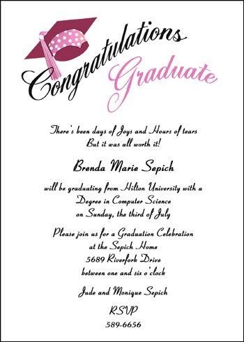 11 best graduation invitation images on Pinterest Graduation - best of invitation wording graduation