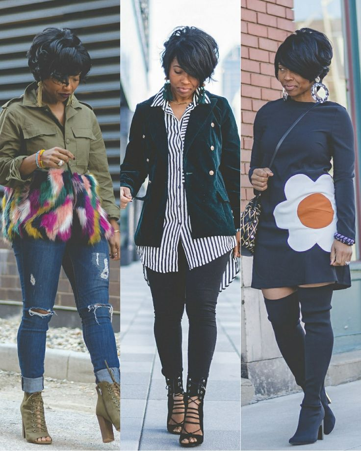 3 Fall Outfit Ideas, Faux Fur, Fur, Over the knee boots, Black Dress, Leggings, Blazer, Velvet Blazer, Cargo Jacket, Distressed Denim, Express Denim, Stripe Shirt, 70's style, Tassel Earrings, Big Earrings, Indy Style, Sweenee Style, Indy Blogger