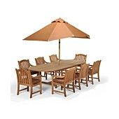 """Pool - Bristol Outdoor Patio Furniture, 9 Piece Set (87"""" x 47"""" Dining Table and 8 Dining Chairs)"""