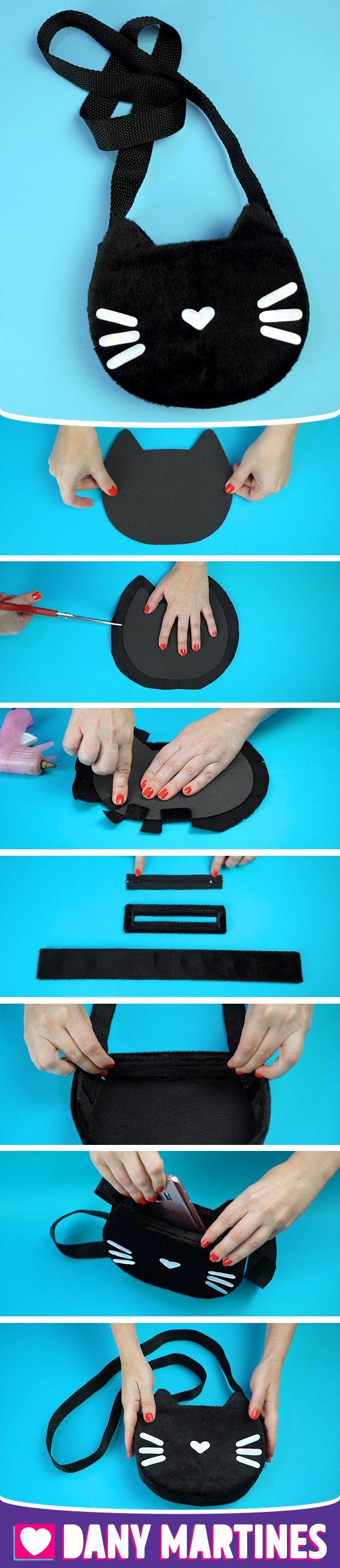 Faça você mesmo uma Bolsa de gatinho simples, fácil de fazer, gastando pouco, E.V.A, Cola quente, Feltro, DIY, Do It Yourself, Dany Martines