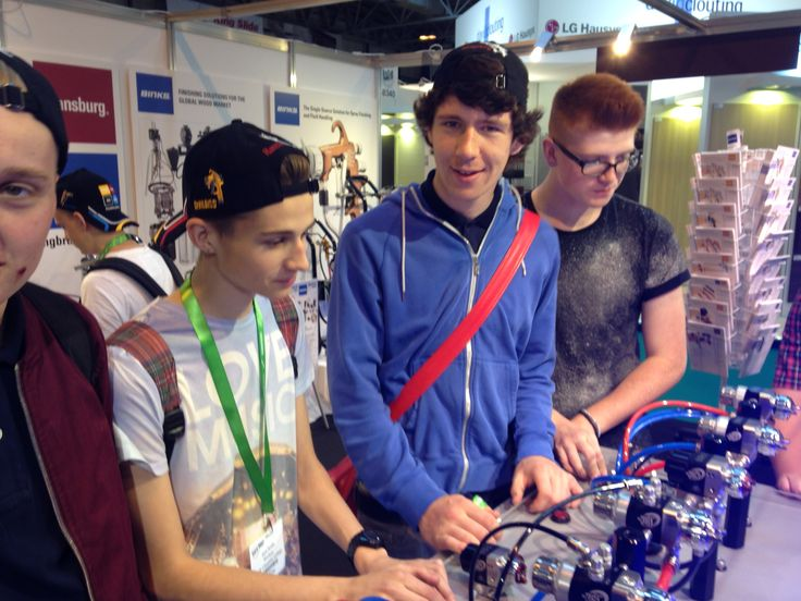 Some students playing with the New Auto Guns at the NEC (W14)